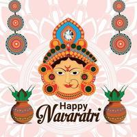 Happy shivratri celebration background with goddess durga face background vector