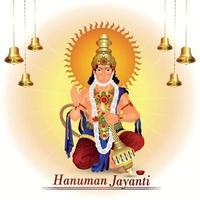 ilustración creativa de lord hanuman y fondo vector