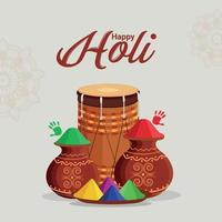 Happy holi greeting cardand background vector