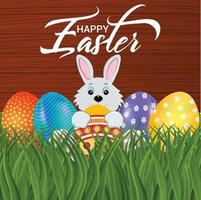 Creative easter bunny and colorful easter egg with background vector