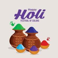 feliz festival colorido holi con olla de barro gulal y cuenco vector