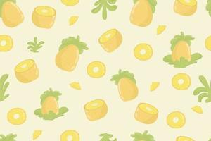 pineapple fruit fresh seamless pattern. Pineapples and leaves on yellow seamless pattern. Modern tropical exotic fruit design for wrapping paper, textile, banner, web, app. Bright juicy yellow pineapple fruits and soft green leaves vector