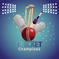 Cricket championship match with stadium background vector
