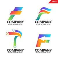 Collection Colorful initial F letter logo design template vector