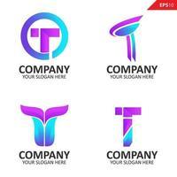 Colección colorida plantilla de diseño de logotipo de letra t inicial vector