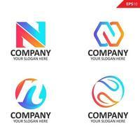 Colección colorida plantilla de diseño de logotipo de letra n inicial