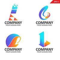 Colección colorida plantilla de diseño de logotipo de letra l inicial