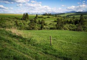 paisaje de montaña con prados.