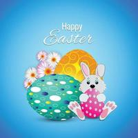 Easter day greeting card with colorful painted egg and cute bunny vector