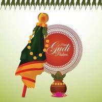festival indio feliz celebración gudi padwa tarjeta de felicitación vector