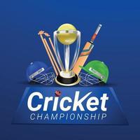 Ilustración y fondo del estadio de cricket vector