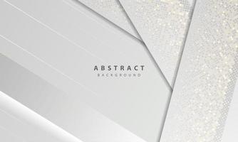 Luxury and modern concept texture with silver glitters dots element decoration. White abstract background with paper shapes overlap layers. vector