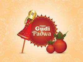 Creative banner or greeting card of gudi padwa with realistic kalash vector