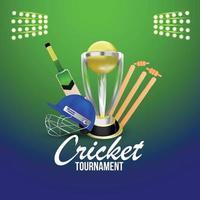 Cricket championship stadium background with cricket championship trophy vector