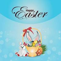 Happy easter celebration background with easter eggs and easter bunny vector