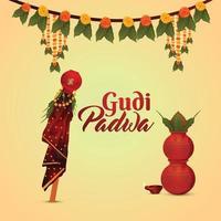 Happy gudi padwa vector illustration and background