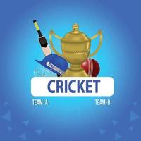 Cricket championship background with helmet and golden trophy vector