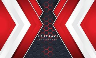 Fondo hexagonal de luz roja abstracta 3D con formas de marco rojo y blanco. vector