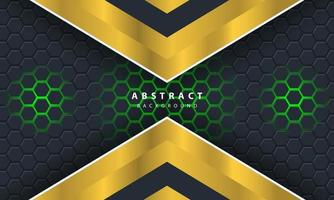 3D abstract green light hexagonal background with gold and white frame shapes. vector