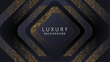 Abstract luxury dark background with gold lines and circular glowing golden dots combinations. vector