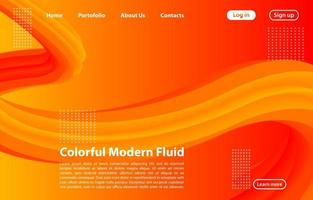 3D Abstract Fluid Shape with Gradient.Landing Page Concept in Orange Color. Abstract orange color geometric shapes background. vector