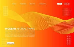 Fondo de onda abstracto moderno Diseño de onda abstracta de página de aterrizaje. fondo naranja. vector