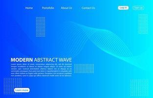 Fondo de onda abstracto moderno Diseño de onda abstracta de página de aterrizaje Aplicaciones de plantilla azul y sitios web. vector