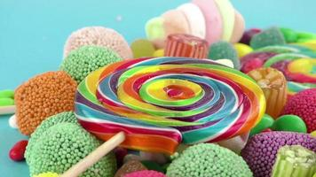 Lollipops and Gumdrops on a Teal Backdrop