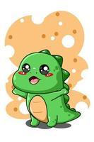happy and funny little dinosaur animal cartoon illustration vector