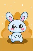 cute and happy baby blue rabbit cartoon illustration vector