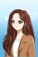 beautiful and happy girl with long hair and suit cartoon copy vector