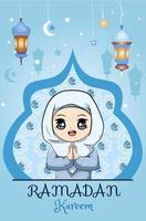 little muslim girl ramadan kareem blue background vector