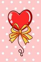 Heart balloon with gold ribbon cartoon illustration vector