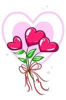 Hearts flower plant cartoon illustration vector