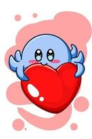 A cute blue octopus with big heart cartoon illustration vector