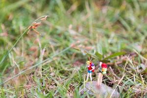 Miniature travelers with backpacks standing and walking in a meadow