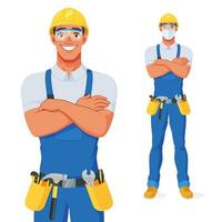 Handyman in bib overalls, hard hat and protective glasses with his arms over chest. Release clipping mask for full size. Vector cartoon character isolated on white background.