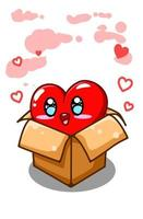 A cute and funny big heart on the box cartoon illustration vector