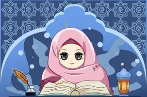 niña musulmana leyendo un libro en la ilustración de dibujos animados de ramadan kareem vector