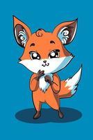un pequeño zorro pequeño está de pie con una linda ilustración de pose vector
