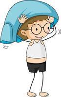 A boy wearing t-shirt by himself cartoon character vector