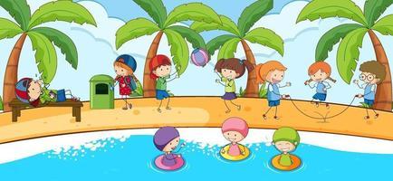 Escena de playa con muchos niños doodle personaje de dibujos animados vector