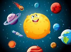 Luna con cara feliz en el fondo del tema de la galaxia espacial vector
