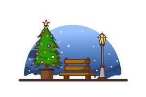 Ambiente de la calle en la víspera de Navidad con farolas y árboles