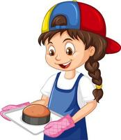 Chef girl wearing chef hat holding baking tray vector