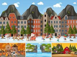 cuatro escenas diferentes con personaje de dibujos animados de niños. vector