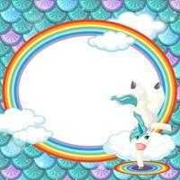 Plantilla de marco ovalado sobre fondo de escamas de pescado verde con personaje de dibujos animados de unicornio vector