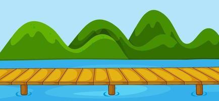 Escena del parque vacío con puente que cruza el río en estilo simple vector
