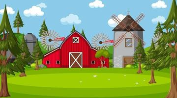 Farm scene in nature with barn and windmill vector