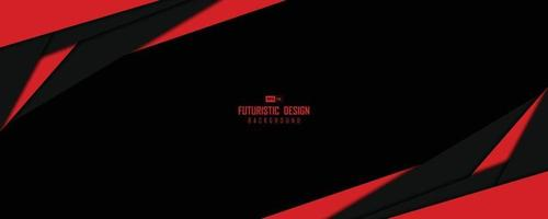 Abstract wide window of black and red technology template design artwork background. illustration vector eps10